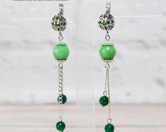 silver earrings agate earrings dangle earrings handmade earrings silver jewelry gemstone earrings green earrings green agate long earrings