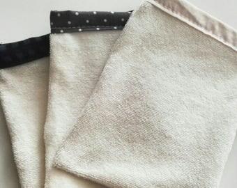 Cleansing glove in organic cotton micro-eponge, zero waste