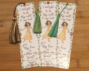 Bible Verse Bookmark - Psalm 40:8 - handmade WITH tassel  (stock #28) delight to do thy will