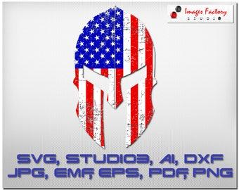 Spartan USA Flag distressed - cuttable Cricut Design Space, Silhouette Digital Cut Files Instant Download svg dxf studio3 png pdf, clipart