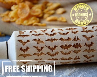 Wooden Rolling Pin 4 Size Little Bats Engraved Design Pattern Best Gift For Mom Halloween gift Embossing rolling pin Handmade gift for mom