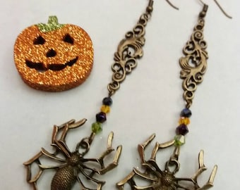 Halloween spider long drop bronze earrings with bicone beads