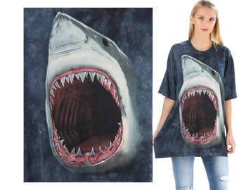 Shark T Shirt 90s Animal Print  Shirt Blue Gray Batik Tie Dye Graphic Sweater Slouch Shirt 1990s Vintage Hipster XL