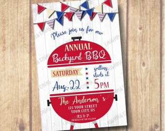 Backyard BBQ Party Invitation, Grilling and Chilling Party, Red White and Blue BBQ Party, Barbeque Invite