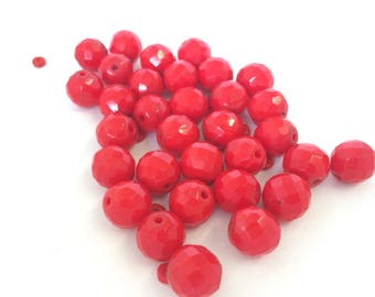 Vintage fire engine Red Glass faceted loose beads