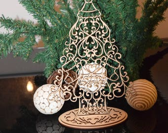 Christmas Tree with Stockings laser cut 3mm MDF