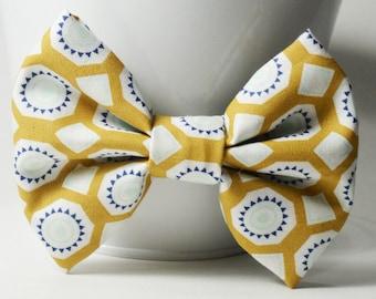 Fabric Bow - Tan Geometric Bow
