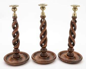 Trio of Oak Open Barley Twist Candlesticks, Circa 1920
