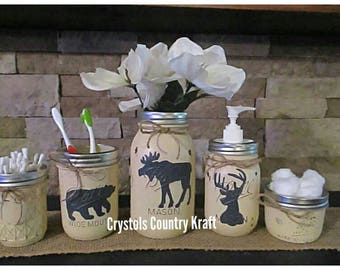 Deer Buck,bear, Moose Bathroom Set, Lodge Theme Bathroom , In A Cream