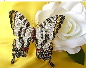 ON SALE Joan Rivers Vintage Signed Zebra Swallowtail Butterfly Brooch, Joan Rivers Butterfly Brooch, Joan Rivers Jewelry
