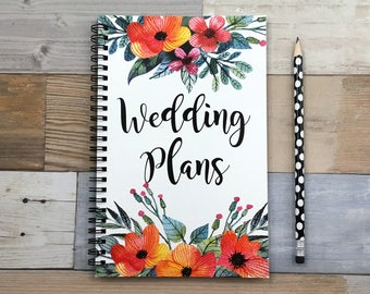 Bullet journal, spiral notebook, writing journal, cute notebook, sketchbook, floral, engagement gift, blank lined dot grid - Wedding plans