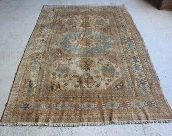 vintage oushak rug 1950s area