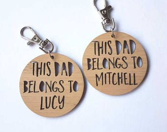 This Dad Belongs To..Keyring-new dad-fathers day-keys-daddy-gift for dad-#1-new father