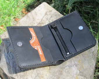 Leather Bifold Wallet.Black leather wallet.Gift for HIM,Gift for Dad,Gift for Men,Gift for Hasband,Gift for Groom.Birthday Gift