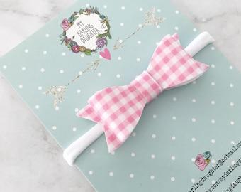 Fabric/Felt Bow Headband Or Hair Clip - Pink Gingham Fabric