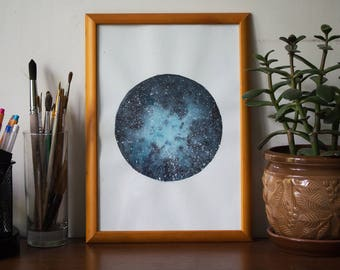 "Watercolor Painting ""Night Turquoise Sky""  - Galaxy, Stars, Starry Night, Watercolor Sky"