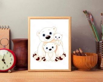 Family Bear,Bear Family Nursery Print, Bear Art Poster, Modern Kids Room Decor, Woodland, Kids Room Nursery Printable