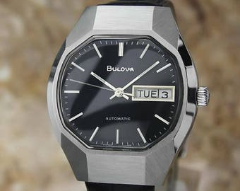 Bulova Mens Vintage 1970s Automatic Day Date Swiss Stainless Steel Watch UB828