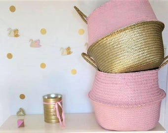 Thai XL wicker basket with two-tone pink and gold