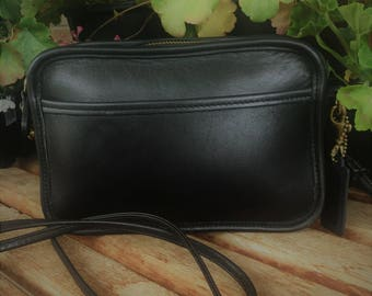 Vintage Coach Crossbody / Abbey Carnival Bag / Black Leather and Brass / Made in the U.S. / 9925