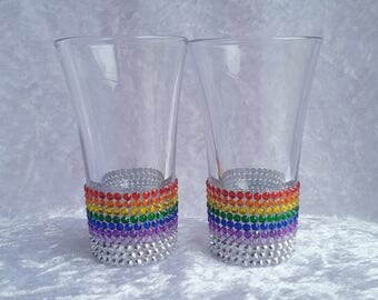 Sparkly Shot Glasses, Rainbow Shot glasses, Gemmed Shot Glass, Hen night, Special Occasion, Pride