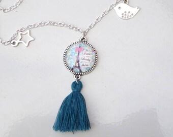 liberty paris cabochon and blue tassel necklace