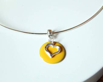 Yellow sequin heart with silver neck Choker