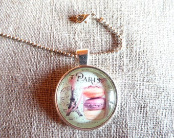 Macaron and eiffel tower glass cabochon pendant necklace