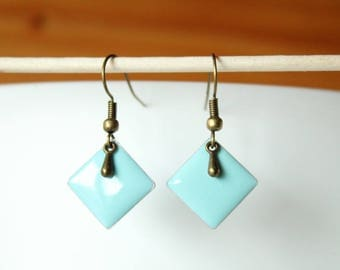 bronze earrings enameled sequin drop and sky blue diamond