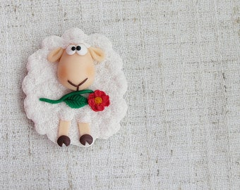 Magnet cute white sheep with a flower white baa-lamb Sheep magnet gift magnet gift child