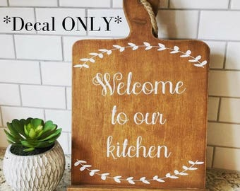 Welcome To Our Kitchen Cookbook IPad Stand Decal, Cookbook IPad Stand, IPad  Holder,