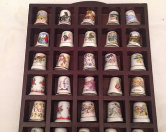 Vintage collection of China Thimbles in Display case./Collectible/ Collectables/Sewing/Mending/Display/