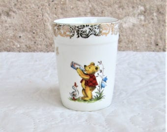 Vintage French Cup, child's glass, porcelain cups, child's room items, bear collectibles