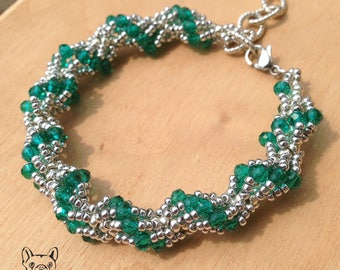 Bead weaving bracelet silver and green crystals-spiral rope bracelet with green crystals and silver seed beads