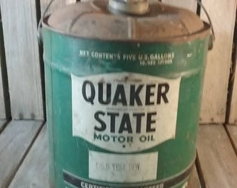 Quaker State Oil Can, Motor Oil Can, Vintage Oil Can, Service Station Can, Metal Oil Can, 5 Gallon Oil Can, Rusty Oil Can,