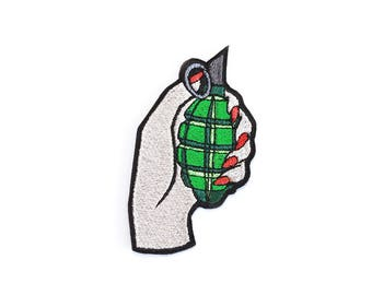 Grenade Patch Iron On Embroidered Patches Applique Embroidery • Bomb Patch Girl Power Army War