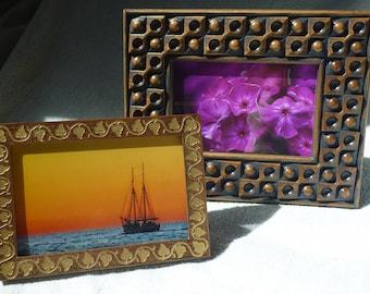 Wooden Photo Frame Natural Walnut Wood Free Shipping Engraving Gold Patina EtsyVintageLover Gift Birthday Handmade Unique Design