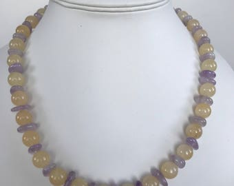Calcite and Amethyst Necklace with 925 silver Bolt Ring Clasp.  Length 19 inches.