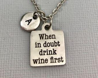Wine  Necklace - Wine Jewelry - Wine Charm - Personalized Necklace - Initial Necklace - Charm Bangle - Monogram - Customized