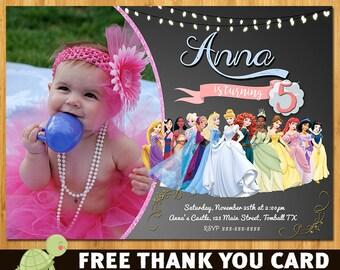 Disney Princess invitation, Princess Birthday Invitation, Disney Princess Invite, Princess Printables, princess