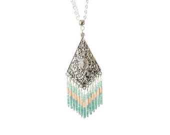 Ethnic necklace, silver and Mint green Miyuki beads.