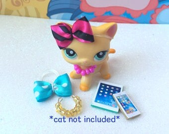 Littlest Pet Shop Accessories Tablet Phone Necklaces Bows LPS *Cat not Included*