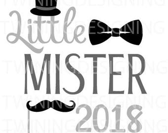 Little Mister 2018 New Years SVG PNG DXF file