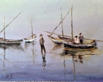 Boats at shore - Oil Painting-Original Art