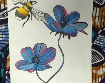 Bohemian Flowers and a Bee - Handpainted Illustration - Colored Pencils