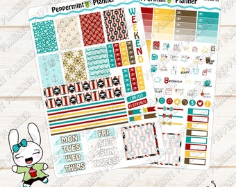 Pirate Weekly Mini Planner Stickers --- Planner Stickers --- For Use with the Mini H Planner --- MHP04