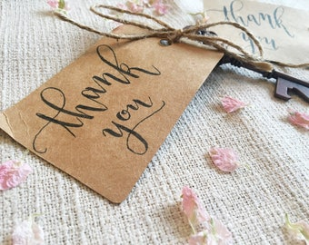 Thank You Wedding Favors Thank You Cards Gift Tags Custom Calligraphy Rustic Wedding Favors HandMade Thank You Cards Party Favors
