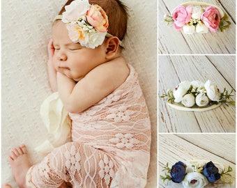 Floral nylon baby headband, baby headbands, flower crown, newborn headband, baby girl headband, infant headband, baby girl headband pink