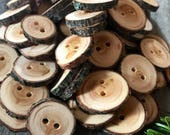 Custom Listing for Jen // 100 Bark-on Tamarack Wood Buttons // Handmade Wood Buttons // Made in Canada