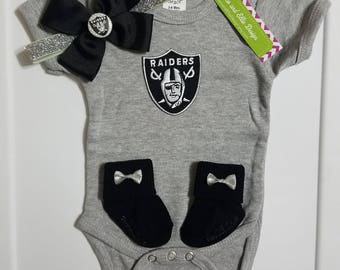 Oakland Raiders baby girl outfit-Oakland Raiders baby girl gift-Raiders girl take home outfit-baby raiders-raiders for newborn/raiders baby